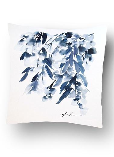 Lyn Home & Decor Mavi Yapraklar Yastık Kılıfı Renkli